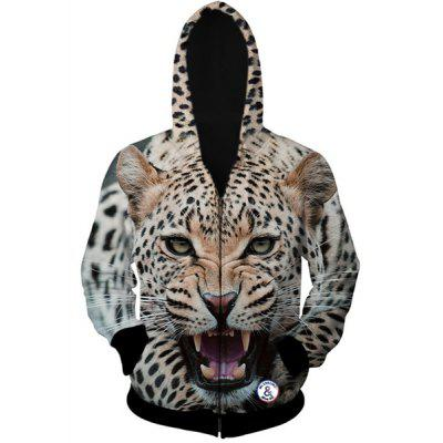 Stylish Fitted Hooded 3D Leopard Head Pattern Long Sleeve Cotton Blend Hoodie For Men