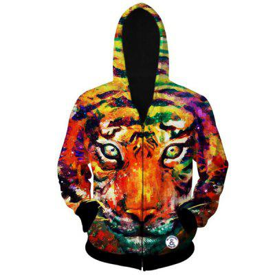 Fashion Fitted Hooded 3D Colorful Tiger Head Print Long Sleeve Cotton Blend Hoodie For Men