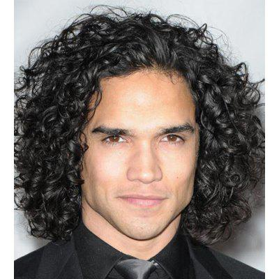 Fashion Medium Black Capless Fluffy Kinky Curly Heat Resistant Synthetic No Bang Wig For Men