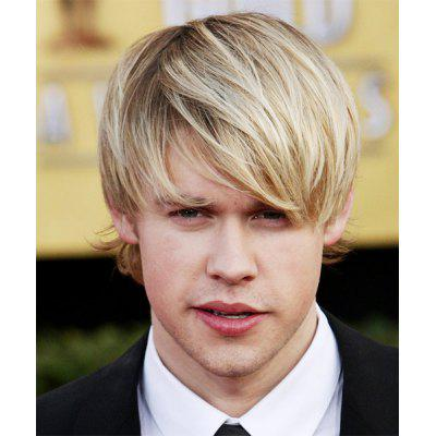Light Blonde Mixed Shaggy Straight Synthetic Vogue Side Bang Short Capless Men's Wig