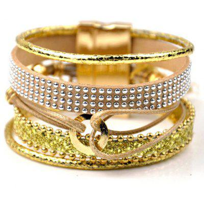 Delicate Faux Leather Rivet Magnet Clasp Layered Bracelet For Women