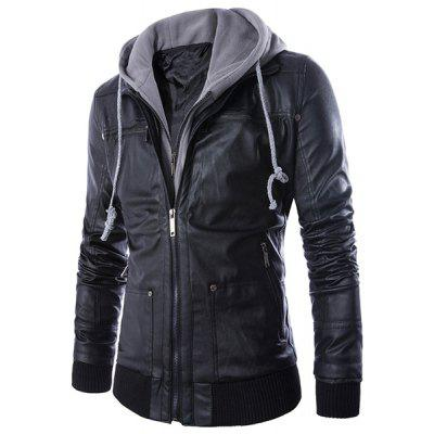 Hooded Faux Twinset Rib PU Leather Jacket