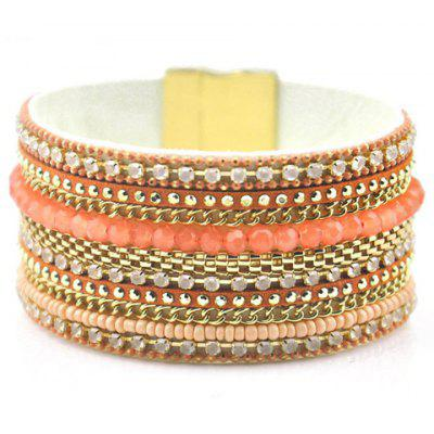 Fantastic Faux Leather Beads Magnet Clasp Bracelet For Women