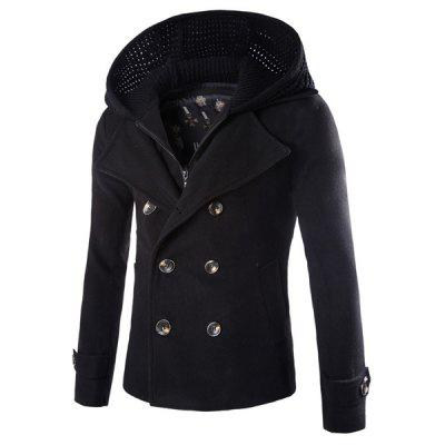 Fashion Slimming Hooded Faux Twinset Solid Color Long Sleeve Woolen Blend Coat For Men