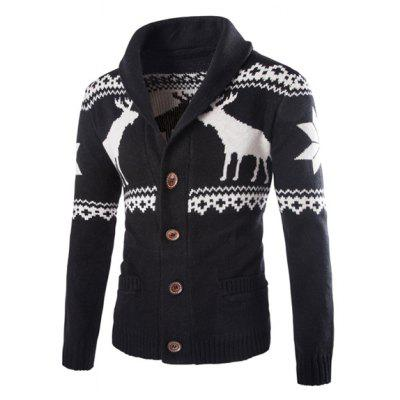 Modish Slimming Turndown Collar Christmas Snowflake Fawn Jacquard Long Sleeve Cotton Blend Cardigan For Men