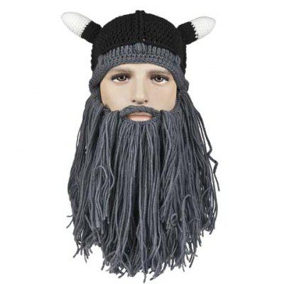 Stylish Animal Ear Shape and Beard Tassel Embellished Knitted Hat For Men