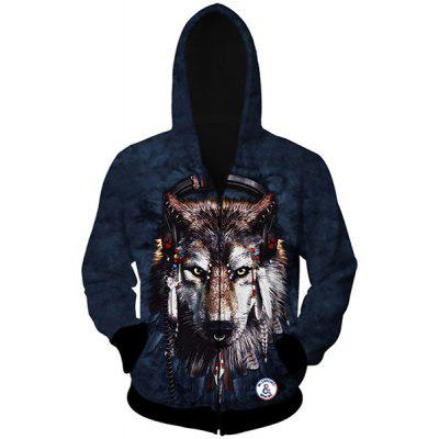 Trendy Slimming Hooded 3D Wolf Head Pattern Long Sleeve Cotton Blend Wolf Hoodie For Men