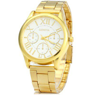 Geneva P07 Golden Case Quartz Watch with Stainless Steel Band for Men