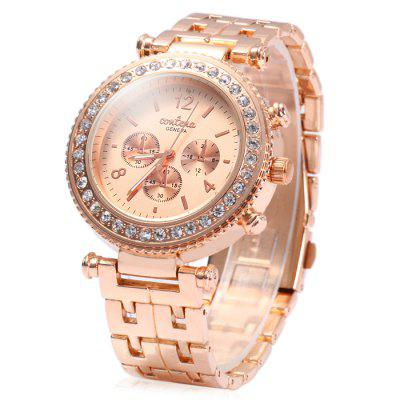 Contena Geneva Ladies Quartz Watch Diamond Bezel Stainless Steel Strap