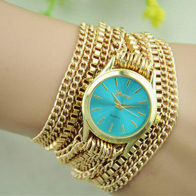Geneva Women Quartz Golden Body Chain Watch with Stainless Steel Strap