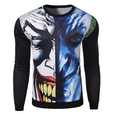 Hot Sale 3D Abstract Funny Face Rib Hem Slimming Round Neck Long Sleeves Men's Sweatshirt