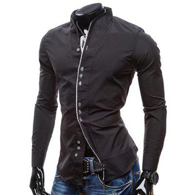 Stand Collar Hit Color Covered Edge Long Sleeves Black Shirt For Men