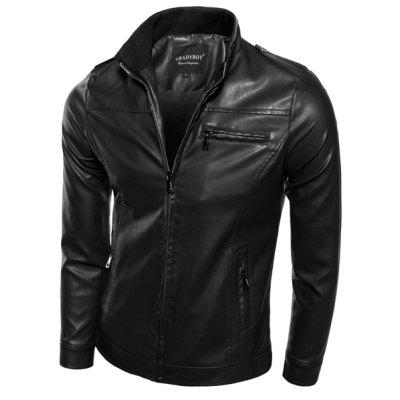 Slimming Rib Stand Collar Multi-Zipper Epaulet Design Long Sleeves Men's PU Leather Motorcycle Jacket the children act