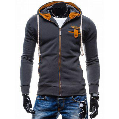 Classic Color Spliced Applique Button Pocket Embellished Hooded Long Sleeves Men's Slim Fit Hoodie