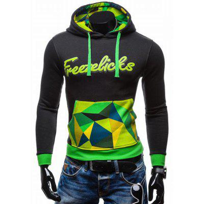 Slimming Lacing Hooded 3D Letters Patterned Hoodies Colorized Front Pocket Rib Hem Men's Long Sleeves