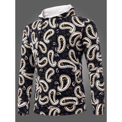Classic Color Splicing Paisley Print Drawstring Hooded Long Sleeves Men's Slimming Patterned Hoodies