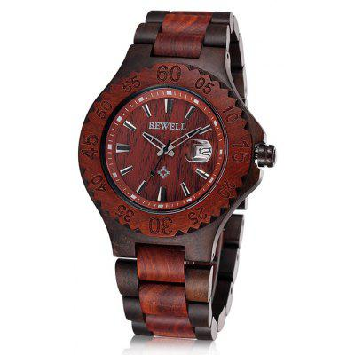 Bewell 2541 Date Function Male Japan Quartz Watch with Sandalwood Band