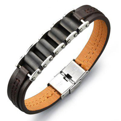 Punk Faux Leather Stainless Steel Bracelet