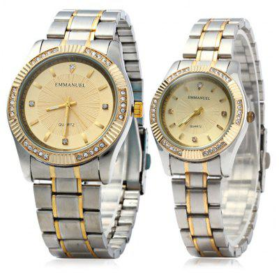 Emmanuel 8103 Rhinestone Scales Lover Quartz Watch Stainless Steel Strap