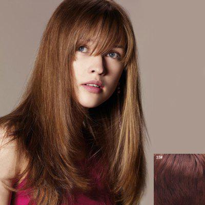 Charming Long Full Bang Graceful Fluffy Straight Capless Real Natural Hair Wig For Women