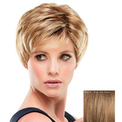 Stunning Inclined Bang Short Capless Fashion Fluffy Straight Real Human Hair Wig For Women