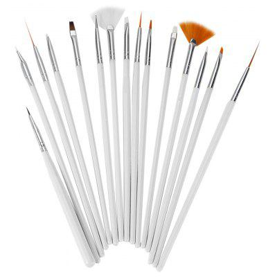 15Pcs Nail Art Design Painting Pen Brush Tool Set with Wooden Handle DIY Fit Tips