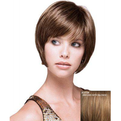 Graceful Bob Style Short Side Bang Straight Capless Real Human Hair Wig For Women