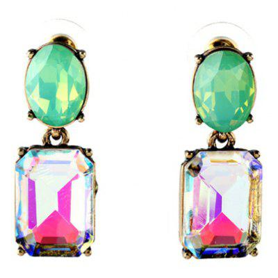 Pair of Stylish Faux Crystal Candy Color Square Oval Earrings For Women