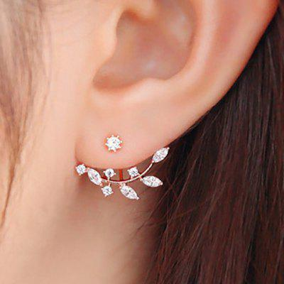 Rhinestoned Leaf Branch Earrings