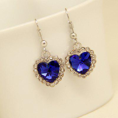 Pair of Sweet Rhinestone Heart Earrings For Women