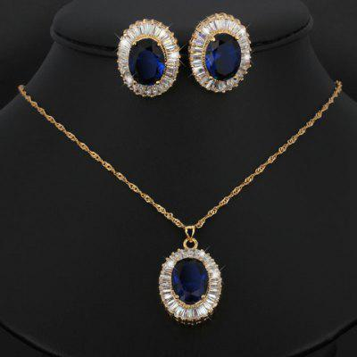 A Suit of Noble Faux Sapphire Oval Necklace and Earrings For Women