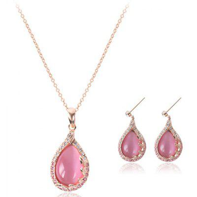 A Suit of Waterdrop Faux Opal Rhinestone Necklace and Earrings