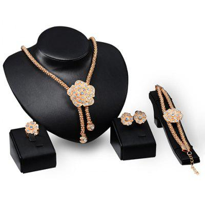 A Suit of Rhinestoned Flower Shape Necklace Bracelet Earrings and Ring