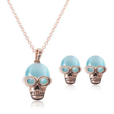 A Suit of Characteristic Faux Opal Skull Necklace and Earrings For Women