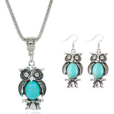 A Suit of Faux Turquoise Night Owl Necklace and Earrings