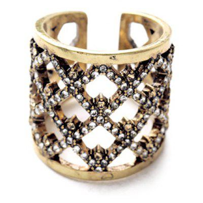 Vintage Hollow Out Square Rhinestone Women's Cuff Ring