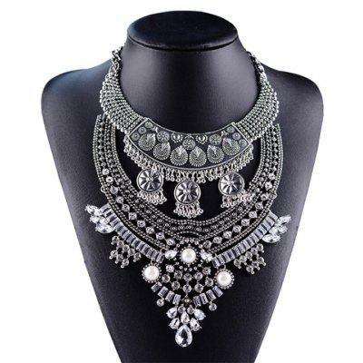 Vintage Layered Tassel Rhinestone Round Waterdrop Necklace