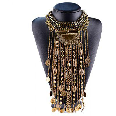 Coin Chain Tassel Geometric Necklace