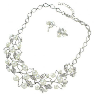 Faux Pearl Leaf Necklace and Earrings