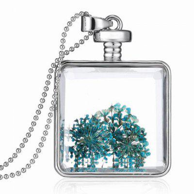 Stylish Dried Flower Square Shape Pendant Necklace For Women