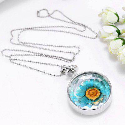 Stylish Round Sunflower Pendant Necklace For Women