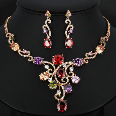 A Suit of Faux Crystal Necklace and Earrings For Women