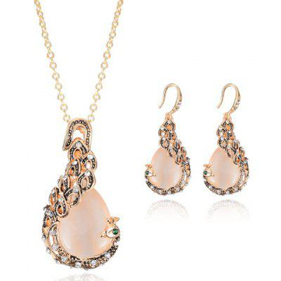 A Suit of Charming Faux Opal Rhinestone Peacock Necklace and Earrings For Women