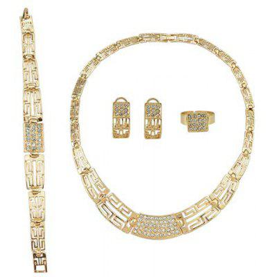 Buy GOLDEN A Suit of Elegant Gorgeous Hollow Out Jewelry Set  (Necklace+Bracelet+Earrings+Ring ) For Women for $7.85 in GearBest store