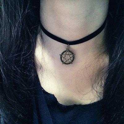 Vintage Velvet Ribbon Pentacle Pendant Women's Choker Necklace