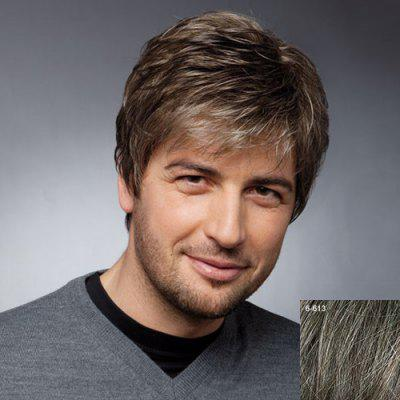 Towheaded Short Inclined Bang Straight Masculine Trendy Capless Human Hair Wig For Men