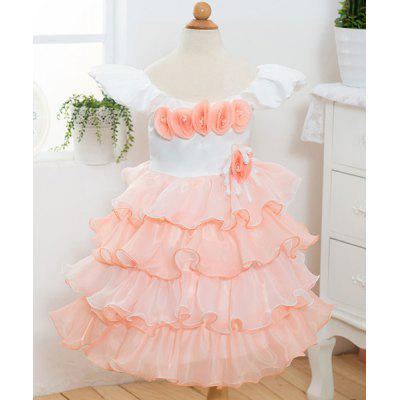 Stylish Cap Sleeve Flower Embellished Multi-Layered Princess Dress For Girl