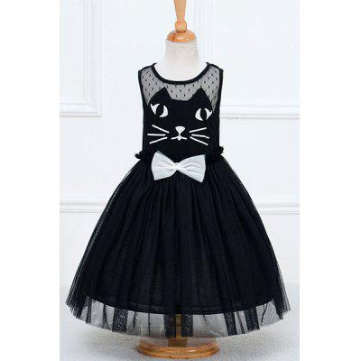 Stylish Sleeveless Round Neck Cat Face Pattern Mesh Spliced Girl's Dress
