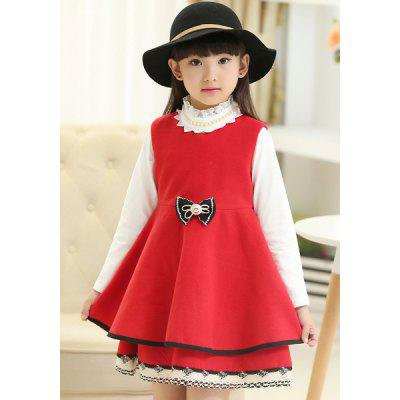 Buy RED Stylish Sleeveless Scoop Neck Bowknot Embellished Flounced Girl's Dress for $16.71 in GearBest store
