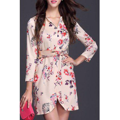 Fashionable V-Neck Floral Print Chiffon Dress For Women